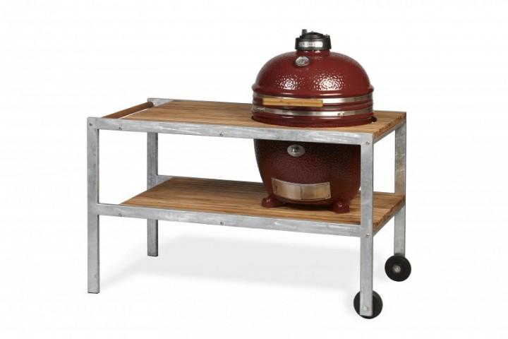 MONOLITH GRILL Classic - rot mit Tisch aus verzinktem Stahl mit Teak