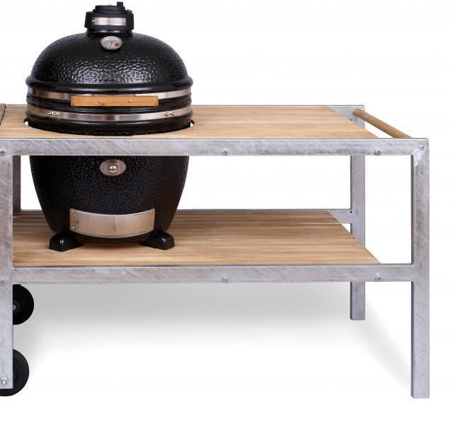 MONOLITH GRILL CLASSIC - BLACK mit Tisch aus verzinktem Stahl mit Teak