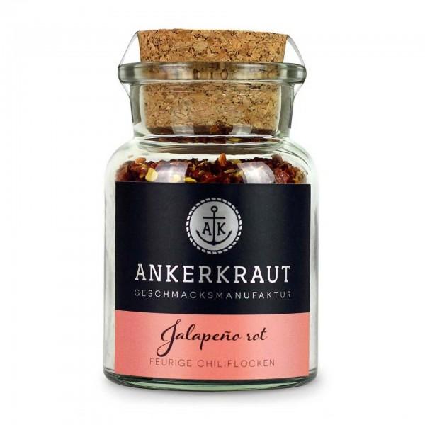 Ankerkraut Jalapeno rot, geschrotet, im Korkenglas
