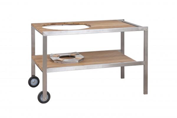 Monolith LeChef Tisch aus Edelstahl & Teak
