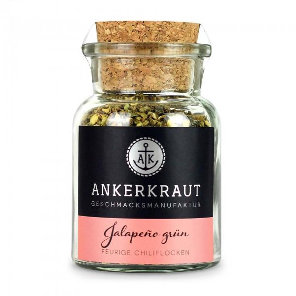Ankerkraut Jalapeno grün, geschrotet, im Korkenglas