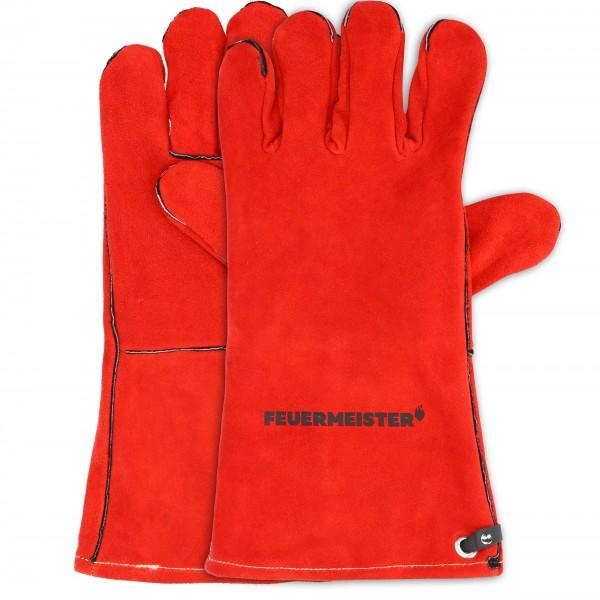 Feuermeister Grillhandschuhe aus Spaltleder in rot (1 Paar)