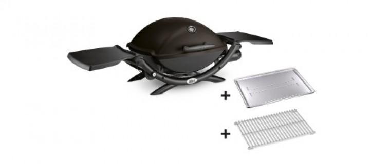Weber Q 2200, Black mit Hitzeschild und Bratenrost