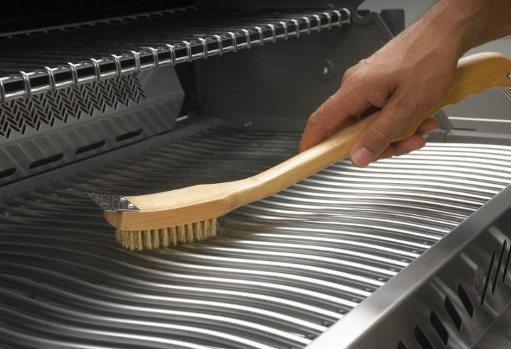 Grillbürste Holz mit Messing Borsten 18
